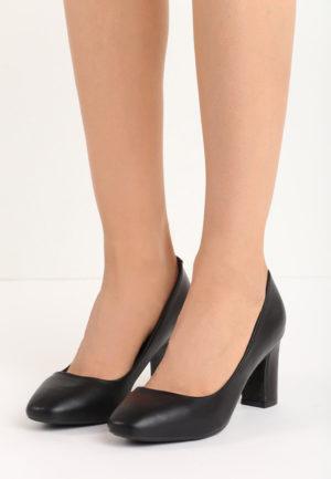 los angeles diverse culori mereu popular Pantofi casual negri cu toc gros mediu realizati din piele ...