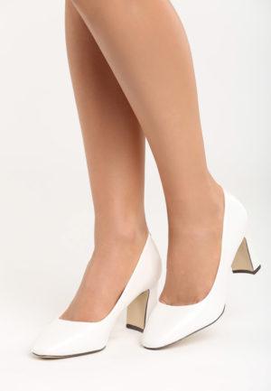 Pantofi Albi De Mireasa Cu Toc Gros Inalt Madailein Prevazuti Cu
