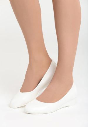 Pantofi Albi De Mireasa Cu Toc Mic Confortabil Passion Pantofi