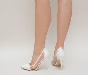Pantofi Eleganti De Mireasa Albi Cu Toc Inalt Subtire Duck Intr Un