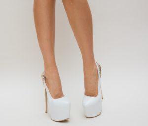 Pantofi De Mireasa Albi Eleganti Cu Toc Stiletto Si Platforma Inalta